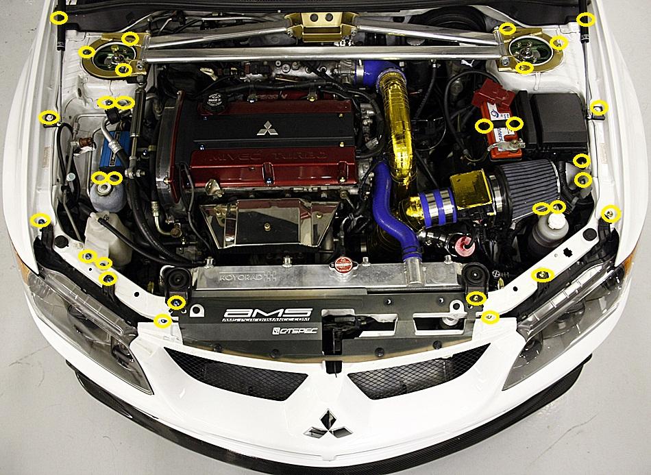 Hawk Brake Pads >> Dress Up Bolts Titanium Engine Bay Kit - EVO 8 :: EVO 8/9 Exterior Parts :: EVO 8/9 Exterior ...