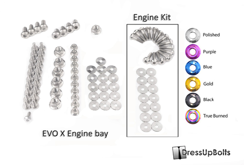 Dress Up Bolts Titanium Engine Bay Kit - EVO X