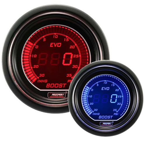 ProSport EVO Series 52mm Electric Boost Gauge Blue/Red
