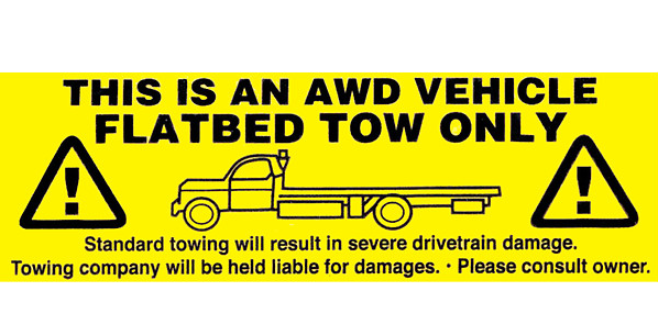 AWD Warning Tow Truck Sticker