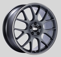 BBS CH-R 19x8 5x114.3 ET38 Satin Titanium Polished Rim Protector Wheels -82mm PFS/Clip Required