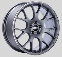 BBS CH-R 18x8 5x100 ET38 Satin Titanium Polished Rim Protector Wheels -70mm PFS/Clip Required