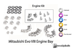 Dress Up Bolts Titanium Engine Bay Kit - EVO 8