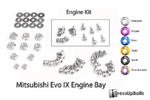 Dress Up Bolts Titanium Engine Bay Kit - EVO 9