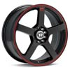 "Motegi MR116 Black w/Red Stripe 18"" Rims Set (4) EVO 8/9"