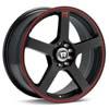 "Motegi MR116 Black w/Red Stripe 18"" Rims Set (4) EVO 8/9"