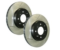 StopTech Power Slot 2009-2015 Lancer Ralliart Slotted Front Rotors