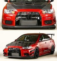VARIS 09' Ver. Front Bumper, Carbon for Mitsubishi EVO X 2009